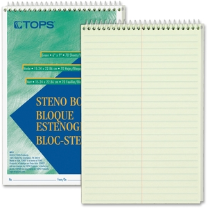 "Tops Products 8011 Steno Book, Gregg Rule, 70 Sheets/PD, 6""x9"", GN Tint by TOPS"