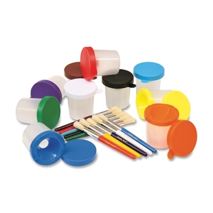 The Chenille Kraft Company 5104 Paint Cups, Round No-Spill, Stuby Brush, 12/ST, Assorted by ChenilleKraft