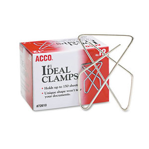 """ACCO Brands Corporation A7072610B Ideal Clamps, Steel Wire, Large, 2-5/8"""", Silver, 12/Box by ACCO BRANDS, INC."""