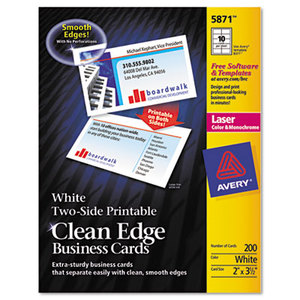 Avery 5874 Two-Side Printable Clean Edge Business Cards, Laser, 2 x 3 1/2, White, 1000/Box by AVERY-DENNISON