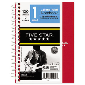 MeadWestvaco 45484 Wirebound Notebook, College Rule, 5 x 7, Perforated, White, 100 sheets by MEAD PRODUCTS