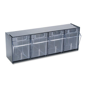 Deflecto Corporation 20404OP Tilt Bin Plastic Storage System w/4 Bins, 23 5/8 x 6 5/8 x 8 1/8, Black by DEFLECTO CORPORATION