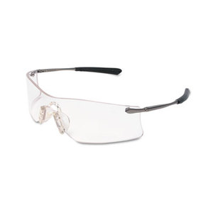 MCR Safety T4110AF Rubicon Frameless Safety Glasses, Silver Metal Temples, Clear Lens by MCR SAFETY