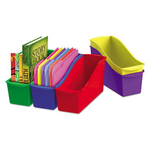 Storex 70105U06C Interlocking Book Bins, 4 3/4 x 12 5/8 x 7, 5 Color Set, Plastic by STOREX
