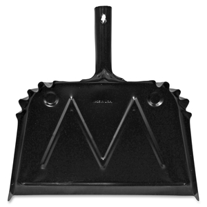 "Dust Pan, Metal, 20 Gauge Steel, 15.5""x16"", Black by Genuine Joe"