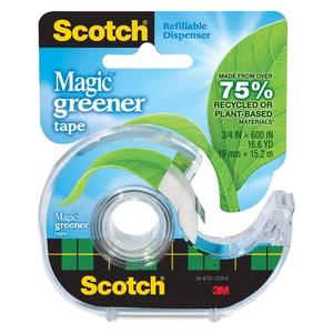 "3M 123 Magic Tape, Eco-Friendly, 3/4""x600"", 144RL/CT, Clear by Scotch"