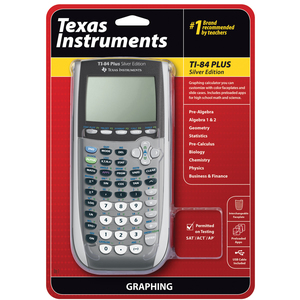 TEXAS INSTRUMENTS INC. 84PL2VSI/CBX TI-84 Plus Silver Edition Graphing Calculator (with Panel, TI-Connectivity Kit Cable, TI Presentation Link and Carrying Case)