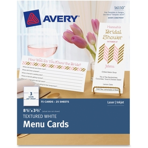 """Numi, LLC 16110 Textured White Menu Cards, 3-2/3""""X8-1/2"""", 75/Pk, We by Avery"""