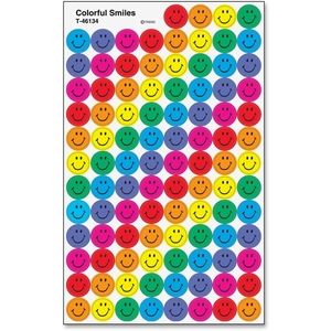 TREND ENTERPRISES, INC. 46134 Stickers, Colorful Smiles, 800 Ea/Pk, Mi by Trend