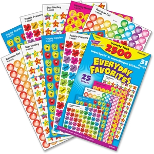 TREND ENTERPRISES, INC. 46916 Stickers, Everyday Favorites, 2500 Ea/Pk, Mi by Trend