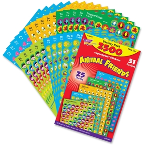TREND ENTERPRISES, INC. 46915 Stickers, Animal Friends, 2500 Ea/Pk, Mi by Trend