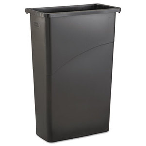 Slim Jim Waste Receptacle, Rectangular, Plastic, 23gal, Black by RUBBERMAID COMMERCIAL PROD.