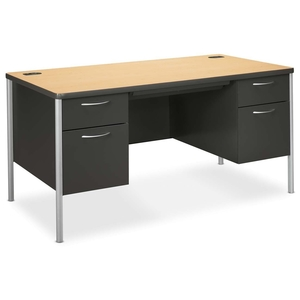 "The HON Company A88962DS Double Pedestal Desk,60""x30""x29-1/2"",Natural Maple/CCL/MC by HON"