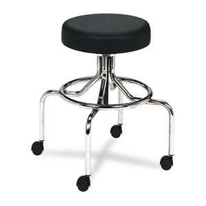 Safco Products 3433BL Screw Lift Stool w/High Base, Height-Adjustable, 25-33h, Chrome/Black by SAFCO PRODUCTS