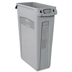 RUBBERMAID COMMERCIAL PROD. 354060GRAY Slim Jim Receptacle w/Venting Channels, Rectangular, Plastic, 23gal, Gray by RUBBERMAID COMMERCIAL PROD.