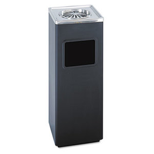 Safco Products 9696BL Ash 'N Trash Sandless Urn, Square, Stainless Steel, 3gal, Black/Chrome by SAFCO PRODUCTS