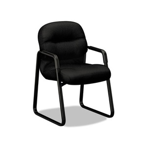 HON COMPANY 2093NT10T 2090 Pillow-Soft Series Guest Arm Chair, Black Upholstery/Black Sled Base by HON COMPANY