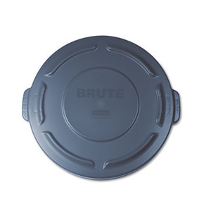 """Round Flat Top Lid, for 20-Gallon Round Brute Containers, 19 7/8"""", dia., Gray by RUBBERMAID COMMERCIAL PROD."""