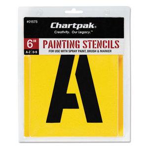 Chartpak, Inc 01575 Painting Stencil Set, A-Z Set/0-9, Manila, 35/Set by CHARTPAK/PICKETT