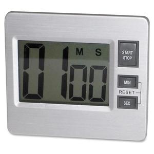 "ZEBRA PEN CORPORATION 52410 Digital Timer, Desk/Wall, 3-3/8""x3/4""x3"", Silver/Black by Tatco"
