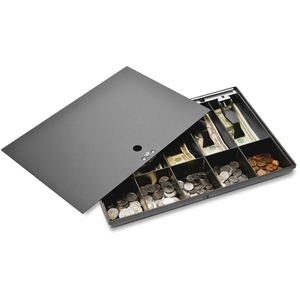 "Sparco Products 15505 Money Tray, w/ Locking Cover, 16""x11""x2-1/4"", Black by Sparco"