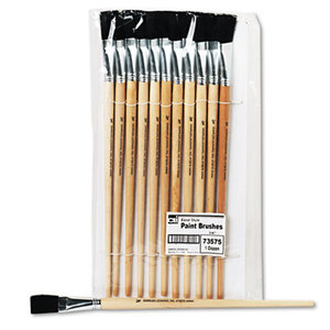Charles Leonard, Inc 73575 Long Handle Easel Brush, Size 18, Natural Bristle, Flat, 12/Pack by CHARLES LEONARD, INC
