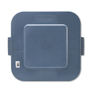 Square Brute Lid, 24 x 22 x 1 1/5, Gray by RUBBERMAID COMMERCIAL PROD.