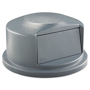 Round Brute Dome Top Receptacle, Push Door, 24 13/16 x 12 5/8, Gray by RUBBERMAID COMMERCIAL PROD.