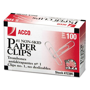 ACCO Brands Corporation A7072385G Nonskid Economy Paper Clips, Steel Wire, No. 1, Silver, 100/Box, 10 Boxes/Pack by ACCO BRANDS, INC.