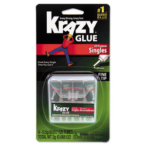 ELMER'S PRODUCTS, INC KG58248SN Krazy Glue Single-Use Tubes w/Storage Case, 4/Pack by ELMER'S PRODUCTS, INC.