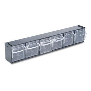 Tilt Bin Plastic Storage System w/6 Bins, 23 5/8 x 3 5/8 x 4 1/2, Black by DEFLECTO CORPORATION