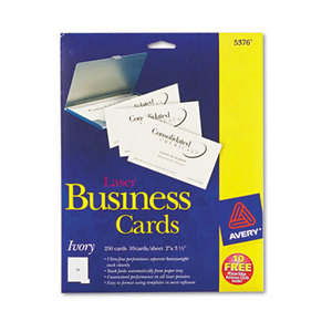 Printable Microperf Business Cards, Laser, 2 x 3 1/2, Ivory, Uncoated, 250/Pack by AVERY-DENNISON