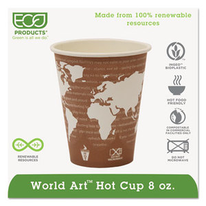 Eco-Products, Inc EP-BHC8-WA World Art Renewable & Compostable Hot Cups - 8 oz., 50/PK, 20 PK/CT by ECO-PRODUCTS,INC.