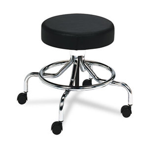 """Safco Products 3432BL Screw Lift Stool w/Low Base, 17-25"""" Height-Adjustable, Chrome/Black by SAFCO PRODUCTS"""