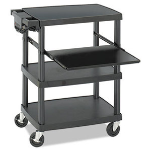 Safco Products 8929BL Multimedia Projector Cart, Four-Shelf, 27-3/4w x 18-3/4 x 34-3/4, Black by SAFCO PRODUCTS