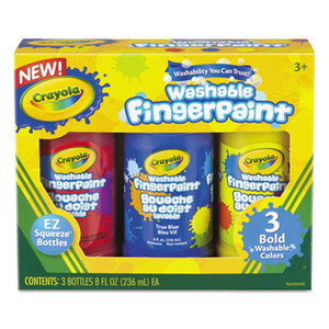 BINNEY & SMITH / CRAYOLA 551310 Washable Fingerpaint Pack, 3 Assorted Bold Colors, 8 oz Tubes, 3/Pack by BINNEY & SMITH / CRAYOLA