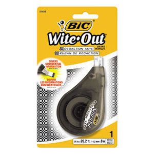 "BIC WOTRDP11 Wite-Out Redaction Tape, Non-Refillable, 1/6"" x 314"" by BIC CORP."