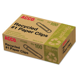ACCO Brands Corporation A7072365 Recycled Paper Clips, No. 1 Size, 100/Box, 10 Boxes/Pack by ACCO BRANDS, INC.