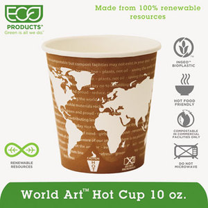 World Art Renewable Resource Compostable Hot Drink Cups, 10oz, Rust, 50/Pack by ECO-PRODUCTS,INC.