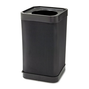 Safco Products 9790BL At-Your Disposal Top-Open Waste Receptacle, Square, Polyethylene, 38gal, Black by SAFCO PRODUCTS