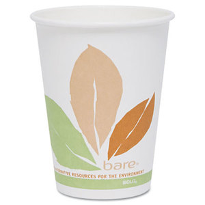 Bare PLA Hot Cups, White w/Leaf Design, 12oz, 300/Carton by SOLO CUPS