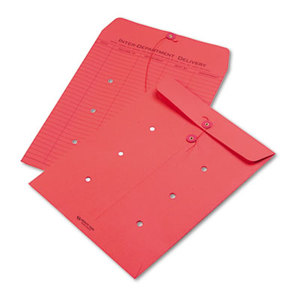 QUALITY PARK PRODUCTS 63574 Colored Paper String & Button Interoffice Envelope, 10 x 13, Red, 100/Box by QUALITY PARK PRODUCTS
