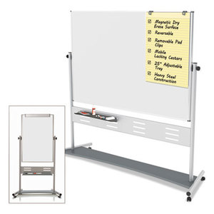 """Revolver Easel, 35 2/5""""w x 47 1/5""""h Board, 80"""" Easel Height, White/Silver by BI-SILQUE VISUAL COMMUNICATION PRODUCTS INC"""