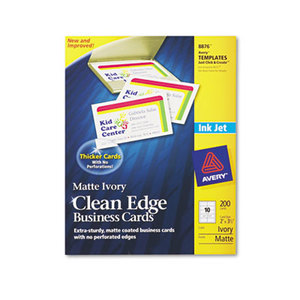 Avery 8876 Two-Side Printable Clean Edge Business Cards, Inkjet, 2 x 3 1/2, Ivory, 200/Pack by AVERY-DENNISON