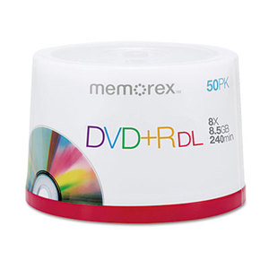 MEMOREX 32020013382 Dual-Layer DVD+R Discs, 8.5 GB, 50/Pk by MEMOREX