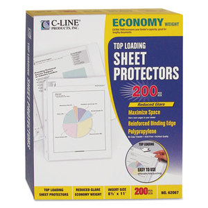 "C-Line Products, Inc 62067 Economy Weight Poly Sheet Protector, Reduced Glare, 2"", 11 x 8 1/2, 200/BX by C-LINE PRODUCTS, INC"