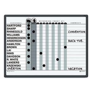 Magnetic Employee In/Out Board, Porcelain, 24 x 18, Gray/Black, Aluminum Frame by QUARTET MFG.