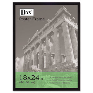 Flat Face Wood Poster Frame, Clear Plastic Window, 18 x 24, Black Border by DAX MANUFACTURING INC.