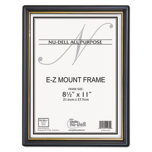 EZ Mount Document Frame with Trim Accent, Plastic, 8-1/2 x 11, Black/Gold by NU-DELL MANUFACTURING