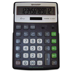 Sharp Electronics ELR297BBK EL-R297BBK Recycled Series Calculator w/Kickstand, 12-Digit LCD by SHARP ELECTRONICS